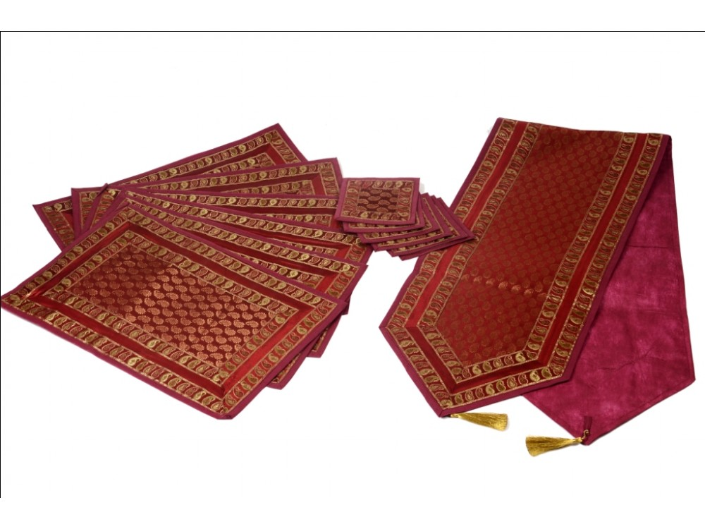 Indian Silk Table Runner With 6 Place Mats U0026 6 Coaster In Red Color Size  16*62