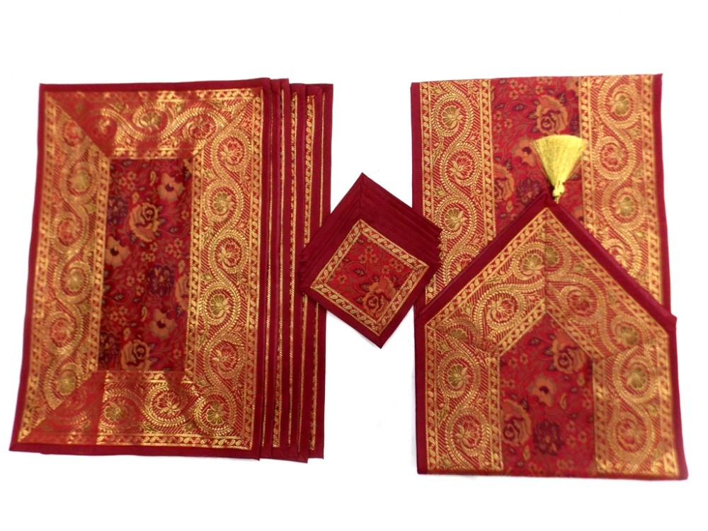 Indian Silk Table Runner With 6 Placemats U0026 6 Coaster In Red Color Size  16*62