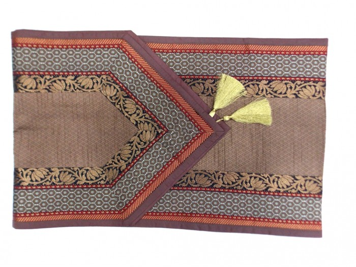 Indian Silk Table Runner With 6 Placemats U0026 6 Coaster In Brown Color Size  16x62