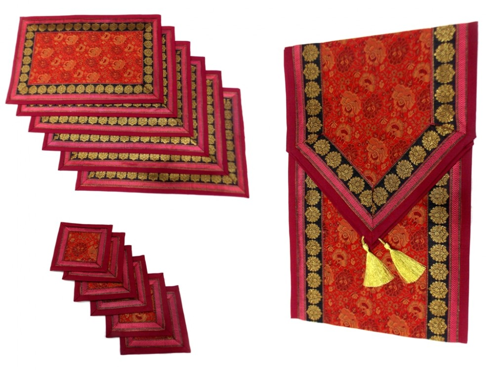 Indian Silk Table Runner With 6 Placemats U0026 6 Coaster In Maroon Color Size  16x62